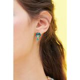 La Diamantine Acqua Azzura Round Stone Sleeper Earrings - Cyan Blue