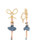 Luxury Pas De Deux Ballerina paved with denim blue crystals and knot clip earrings