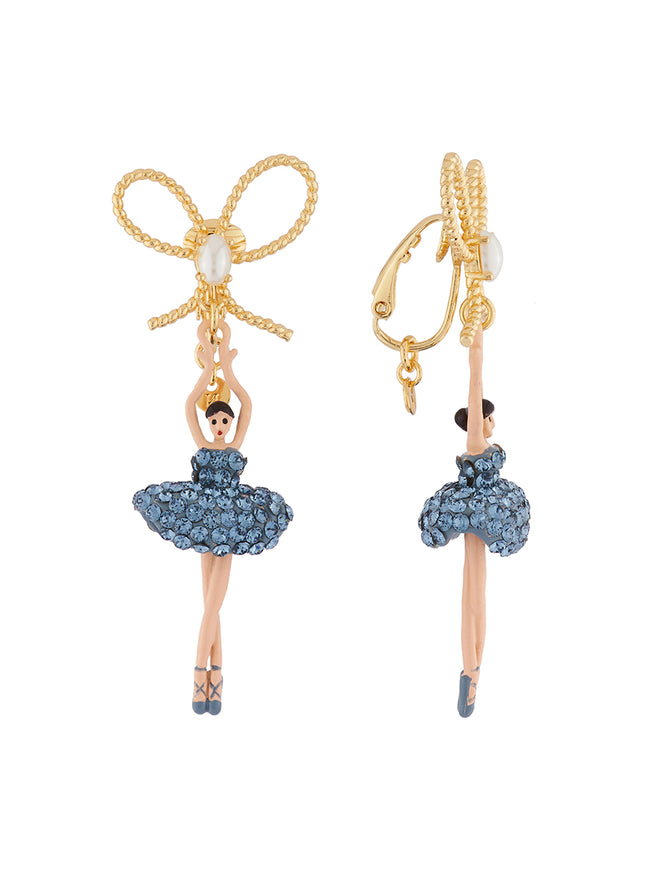 Luxury Pas De Deux Ballerina paved with denim blue crystals and knot clip earrings Alternate View