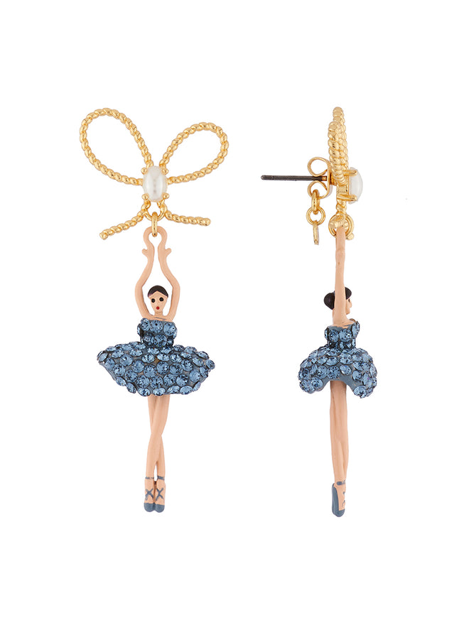 Luxury Pas De Deux Ballerina paved with denim blue crystals and knot earrings Alternate View