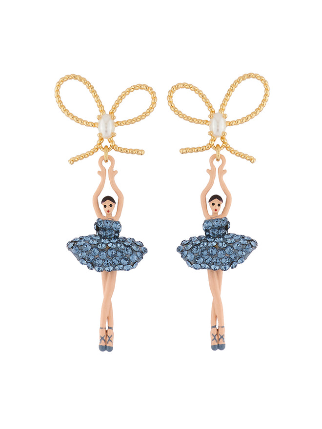 Luxury Pas De Deux Ballerina paved with denim blue crystals and knot earrings
