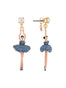 Luxury Pas De Deux Toe-dancing ballerina paved with denim blue crystals earrings Alternate View