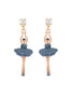 Luxury Pas De Deux Toe-dancing ballerina paved with denim blue crystals earrings