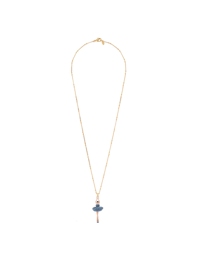 Luxury Pas De Deux Ballerina paved with denim blue crystals necklace Alternate View