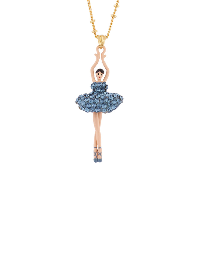 Luxury Pas De Deux Ballerina paved with denim blue crystals necklace
