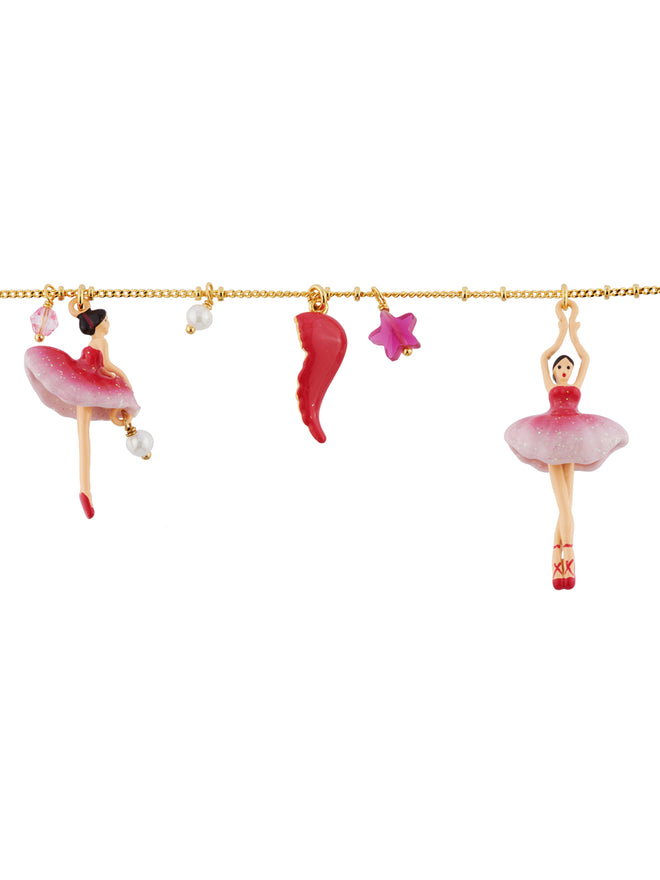 Pas de Deux Grenadine Pink Ballerina and Charms Bracelet Alternate View