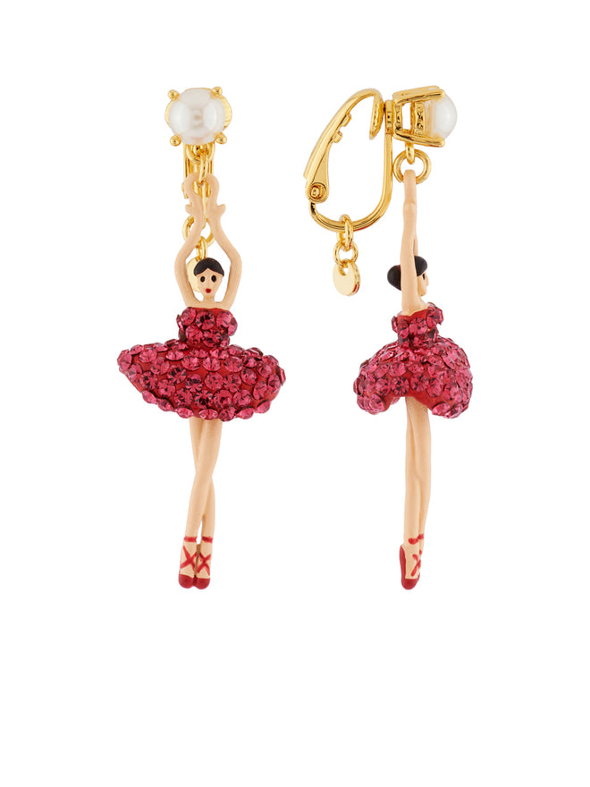 Luxury Pas de Deux Toe-Dancing Ballerina with Indian Pink Crystals Clip Earrings Alternate View