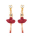 Luxury Pas de Deux Toe-Dancing Ballerina with Indian Pink Crystals Clip Earrings