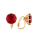 La Diamantine Grenadine Round Stone Clip Earrings