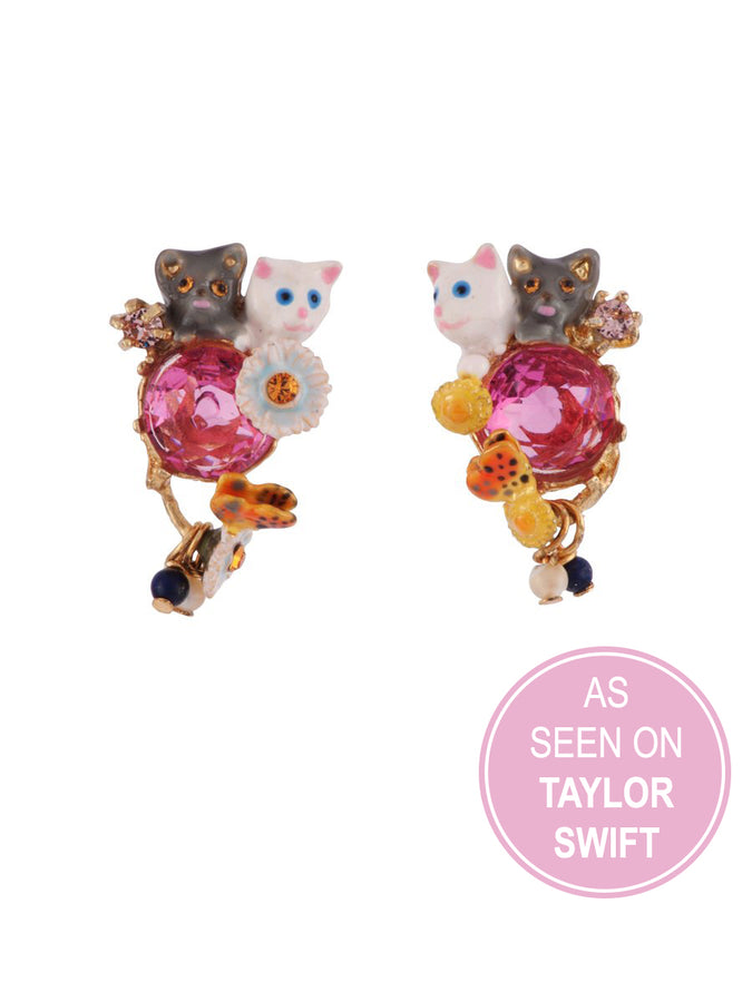 Little Cats Duo with Faceted Glass and Charms Earrings - As Seen on Taylor Swift