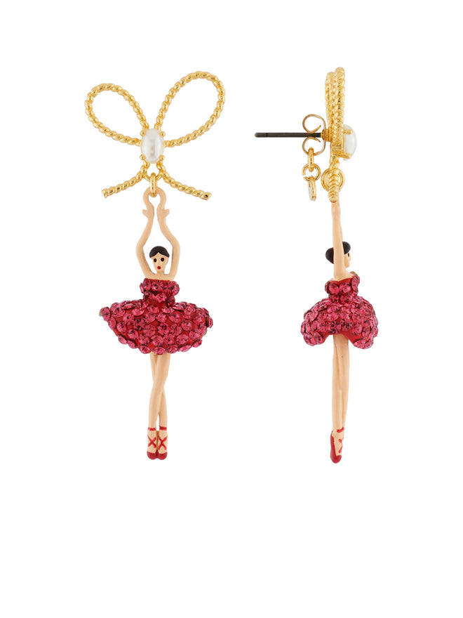 Luxury Pas de Deux Ballerina with Indian Pink Crystals and Knot Earrings Alternate View