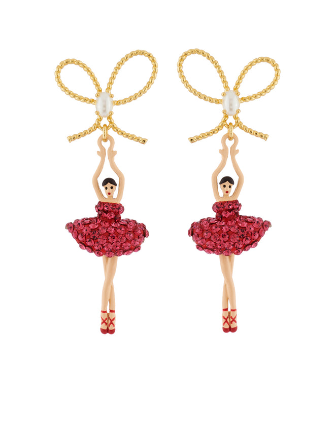 Luxury Pas de Deux Ballerina with Indian Pink Crystals and Knot Earrings