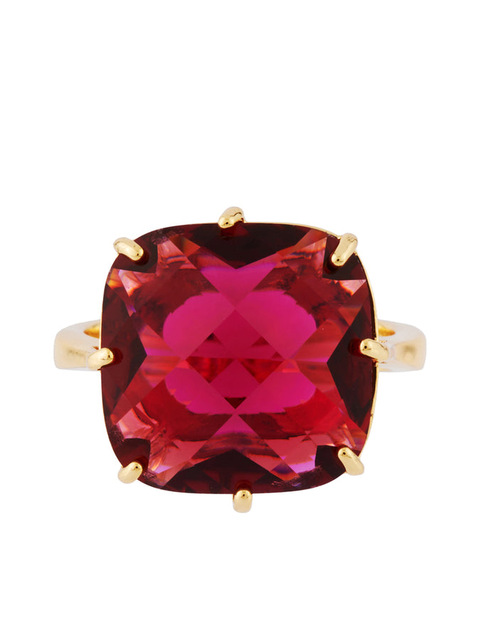 La Diamantine Grenadine Square Stone Ring - Fuchsia