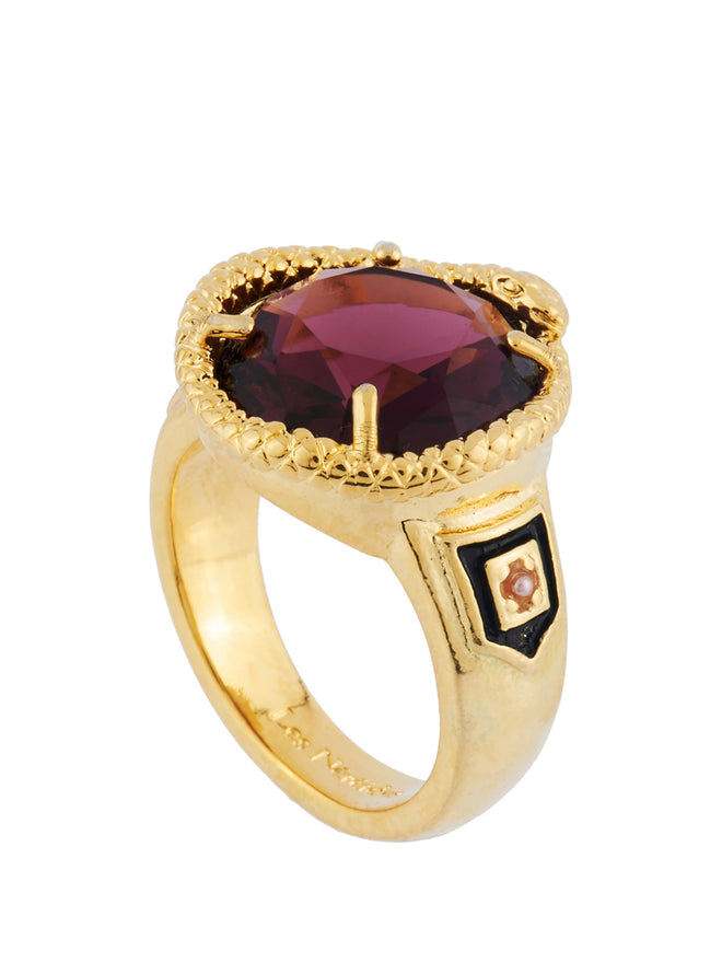 Ostentatious Obscurity Waving Snake Around Faceted Glass Signet Ring - Fuchsia Alternate View