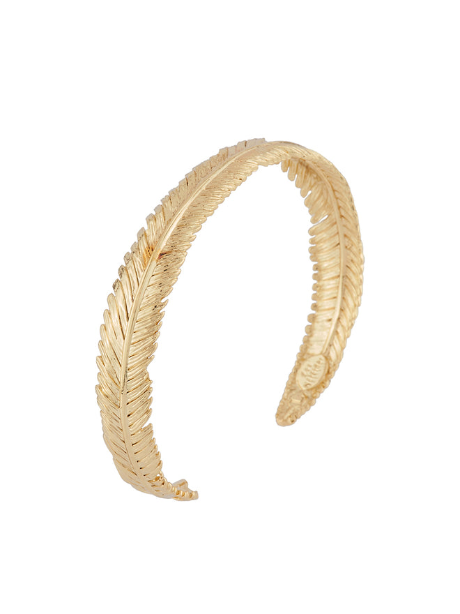 Blazing Nature Seagull feather semi-rigid bracelet - Gold Alternate View