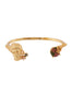 Underwater Memories Greek's Face Statue, Stone and Laced Corals Semi-Rigid Bracelet - Gold