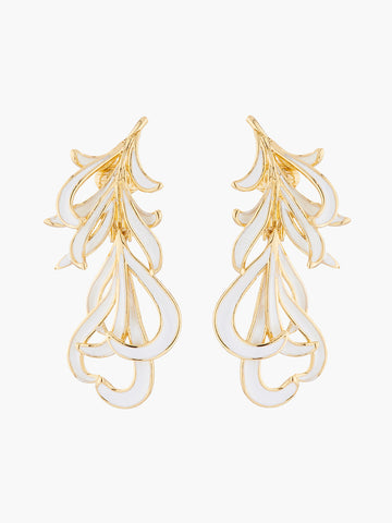 A Simple Swan Golden and White Swan Feather Clip-On Earrings