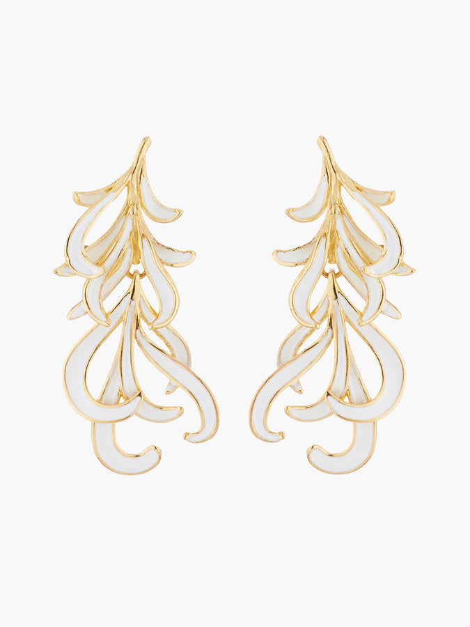 A Simple Swan Golden and White Swan Feather Stud Earrings