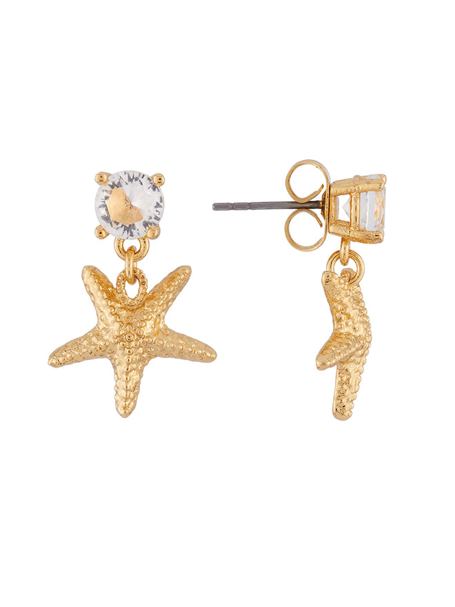 Blazing Nature Golden starfish and rhinestone earrings Alternate View