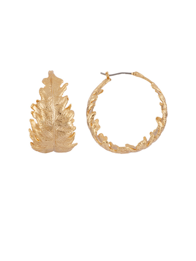 Blazing Nature Oak Leaf Hoops Alternate View