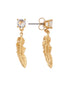 Blazing Nature Seagull feather and rhinestone earrings Alternate View