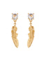 Blazing Nature Seagull feather and rhinestone earrings