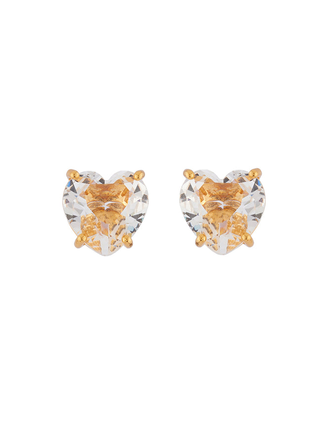 La Diamantine Crystal Heart-Shaped Stone Earrings
