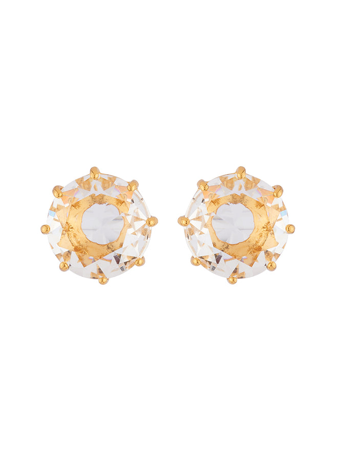 La Diamantine Crystal Round Stone Earrings