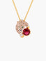 Charming Feline Panther Head and Red Stone Pendant Necklace