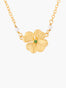 Lucky Flower Clover and Crystal Pendant Necklace