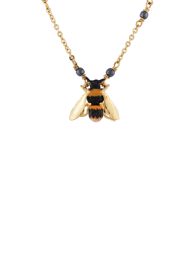 Ostentatious Obscurity Bee with golden wings necklace