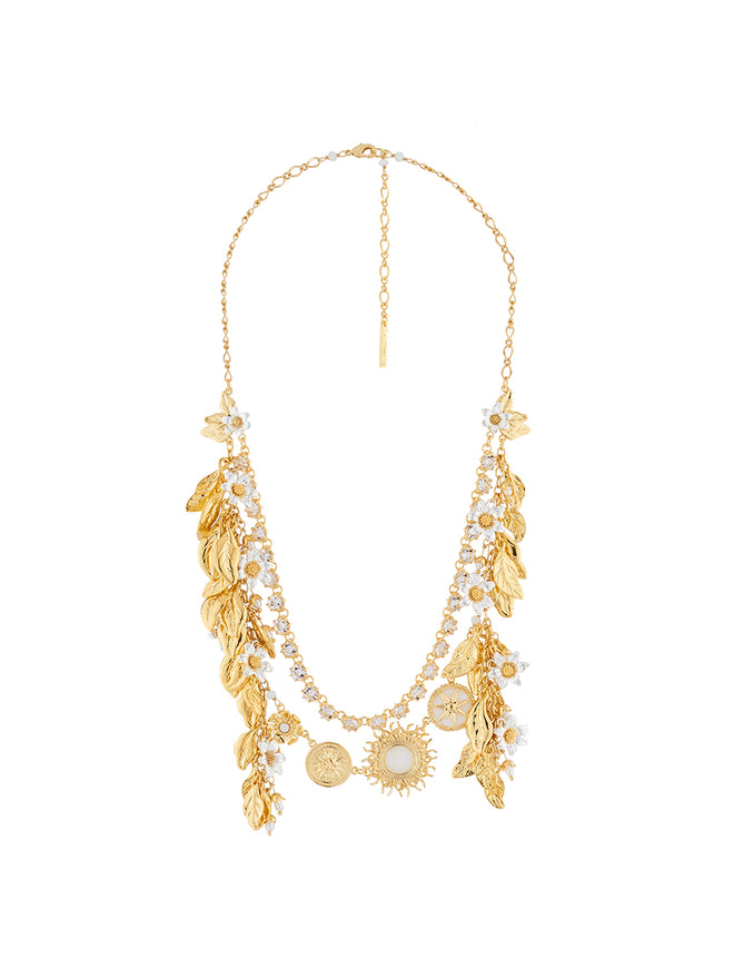 Weekend In Taormina Sun, laurel leaves and jamsin two rows necklace Alternate View