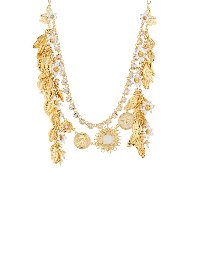 Weekend In Taormina Sun, laurel leaves and jamsin two rows necklace