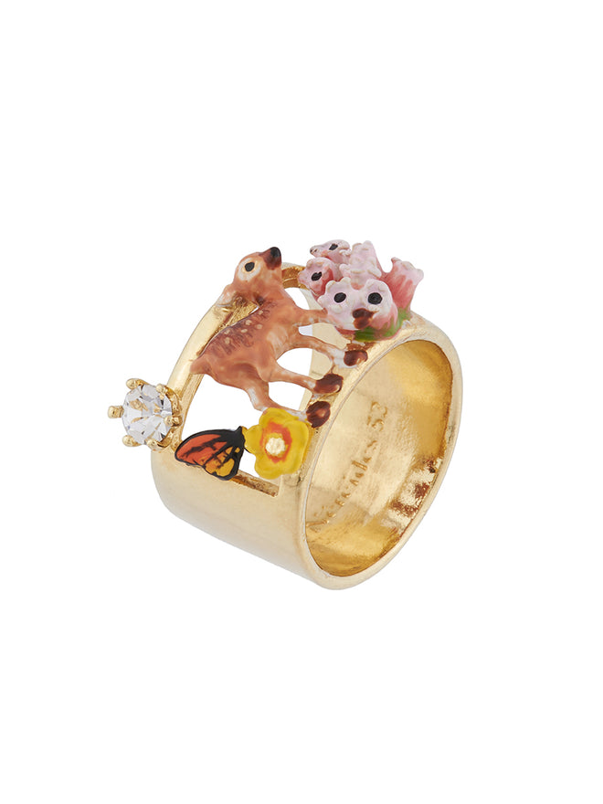 Bucolic Encounters Fawn, little flowers and rhinestone ring - Gold Alternate View