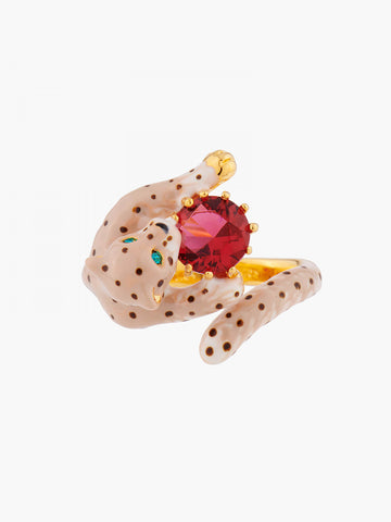 Charming Feline Panther Head and Red Stone Adjustable Ring