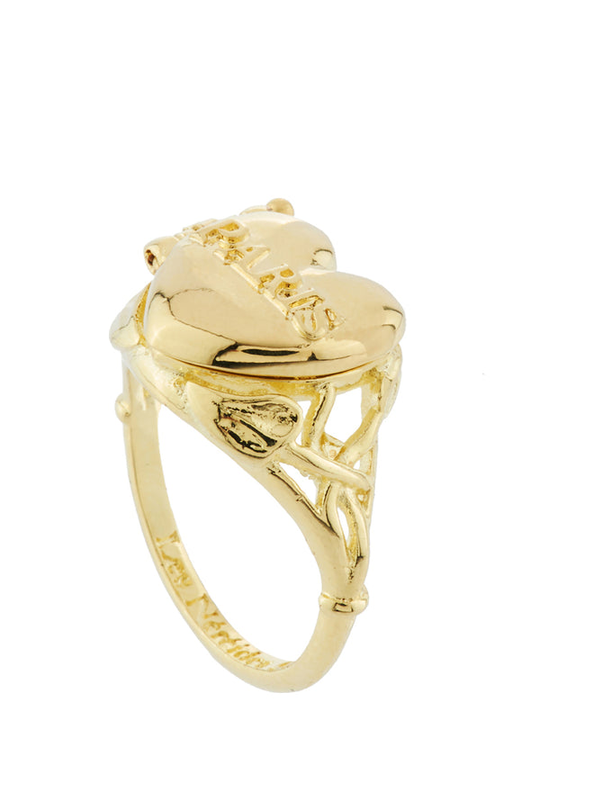 From Paris with Love Paris Heart-Shapped Secret Ring - Gold Alternate View