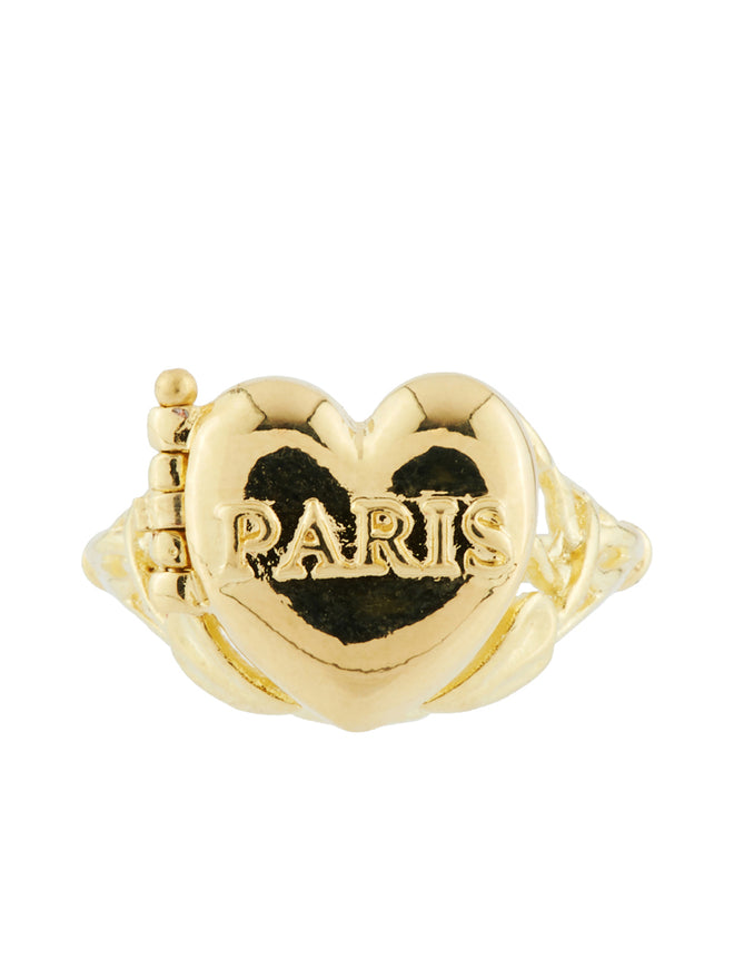 From Paris with Love Paris Heart-Shapped Secret Ring - Gold