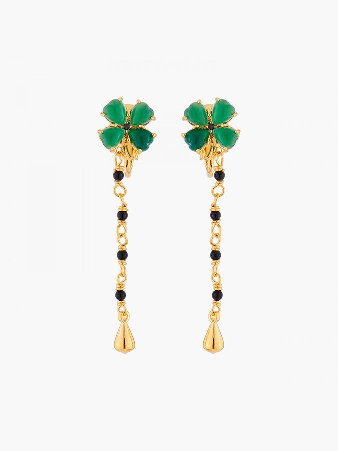 Bring Me Happiness Four-Leaf Jade Clover and Chains Clip-on Earrings