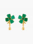 Bring Me Happiness Four-Leaf Jade Clover and Golden Drop Stud Earrings