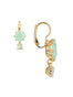 La Diamantine 2 Asymmetrical Green Stones Dormeuses Earrings Alternate View