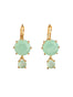 La Diamantine 2 Asymmetrical Green Stones Dormeuses Earrings