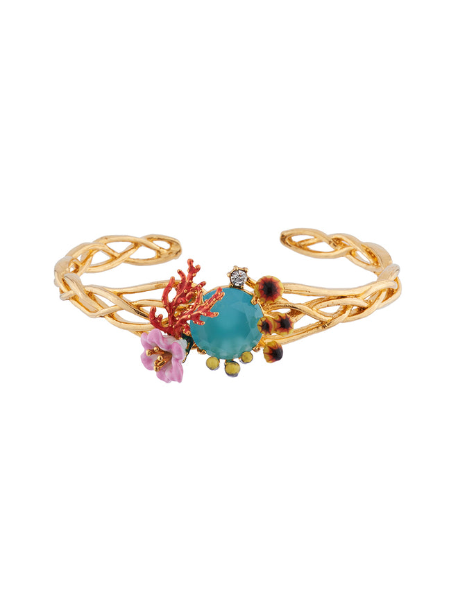 Mysterious Garden Corals, aquatic mushrooms and flowers on faceted glass semi-rigid bracelet - Multi