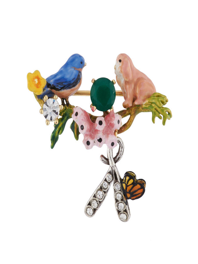 Bucolic Encounters Tit bird, rabbit and faceted glass brooch