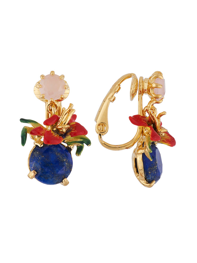 Dazzling Discretion Tropical flower on blue stone clip earrings Alternate View
