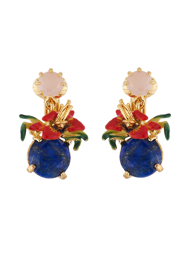 Dazzling Discretion Tropical flower on blue stone clip earrings