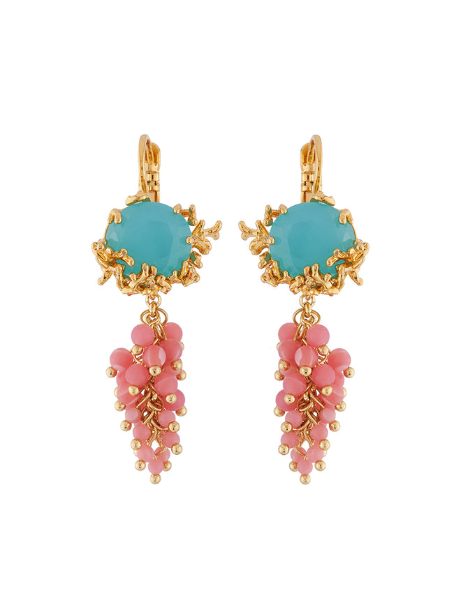 Mysterious Garden Blue faceted glass, branches of golden corals and bunch of beads clip earrings