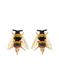 Ostentatious Obscurity Bee with golden wings clip earrings