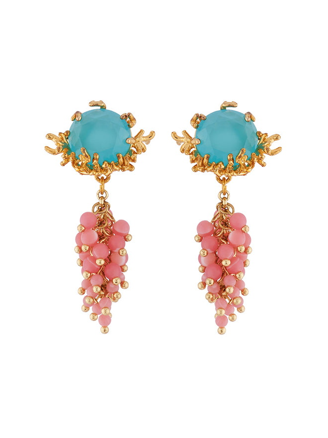Mysterious Garden Blue faceted glass, branches of golden corals and bunch of beads earrings