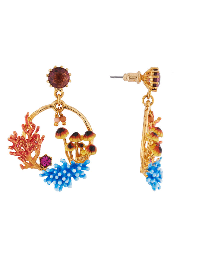 Mysterious Garden Corals, anemones and aquatic mushrooms large hoop earrings Alternate View