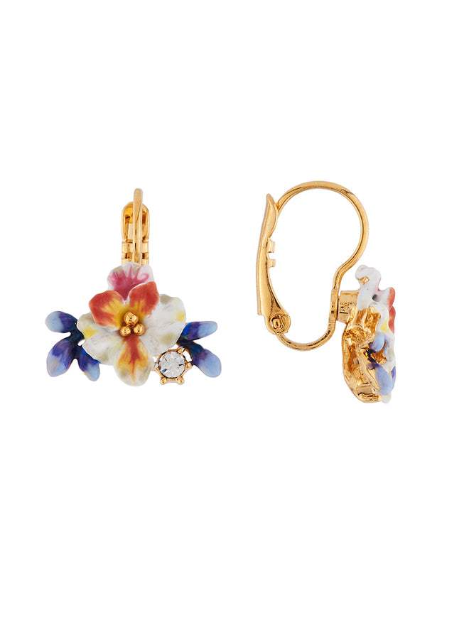Mysterious Garden White flower, blue buds and rhinestones french hook earrings Alternate View
